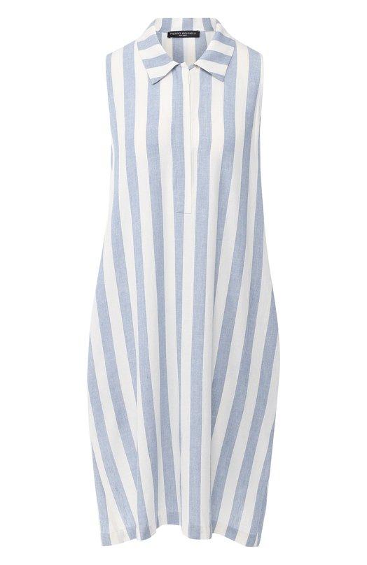 Купить Платье в полоску Pietro Brunelli, AG0162/LIR005, Италия, Голубой, Вискоза: 55%; Лен: 45%;