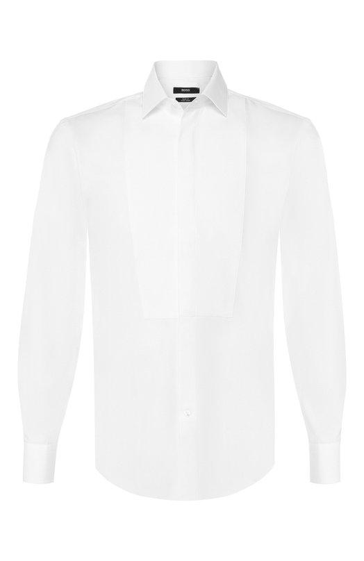 Купить Хлопковая сорочка с воротником кент BOSS, 50404828, Турция, Белый, Хлопок: 100%;