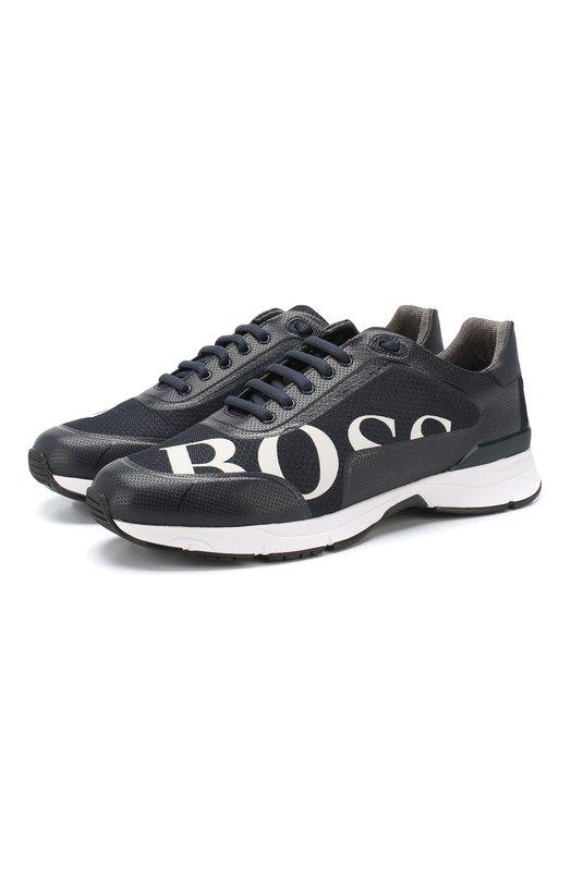 Купить Комбинированные кроссовки BOSS, 50397613, Китай, Темно-синий, Полиэстер: 100%; Кожа: 100%;