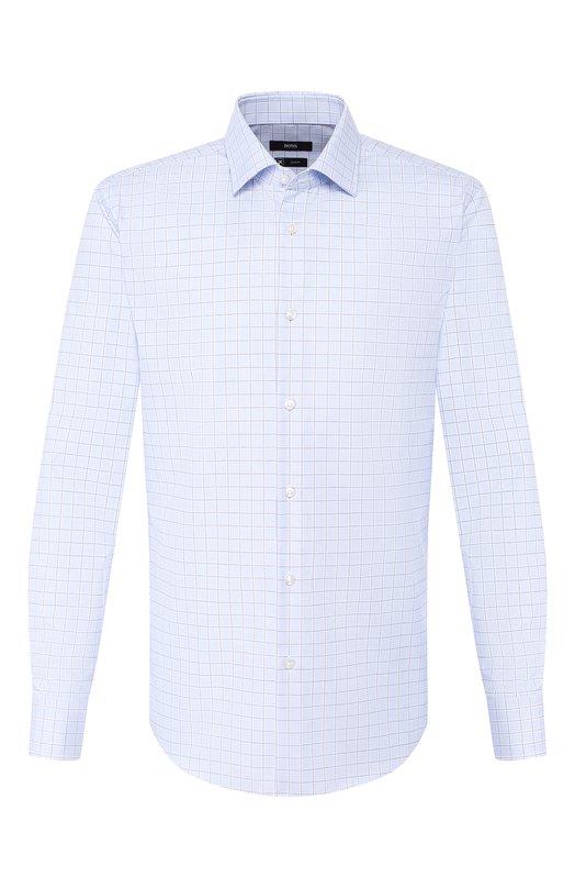 Купить Хлопковая сорочка с воротником кент BOSS, 50404998, Турция, Голубой, Хлопок: 100%;