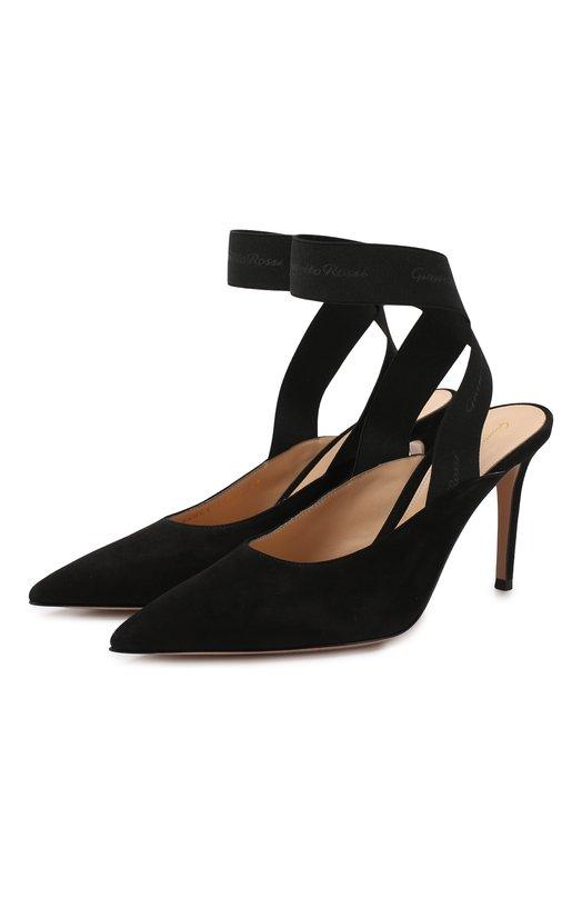 Замшевые туфли Delila 85 Gianvito Rossi, G95041.85RIC.CCENENE, Италия, Черный, Кожа: 60%; Текстиль: 40%; Подкладка-кожа: 100%; Низ-кожа: 100%; Подошва-кожа: 100%;  - купить