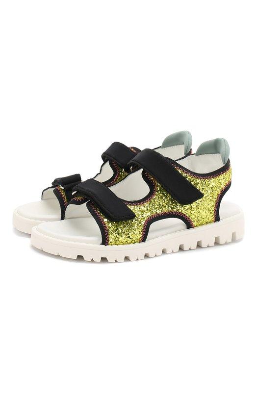 Текстильные сандалии с глиттером Marni