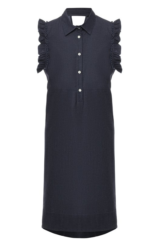 Купить Хлопковое платье с оборками Pietro Brunelli, AG0171/C00053, Италия, Синий, Хлопок: 98%; Эластан: 2%;