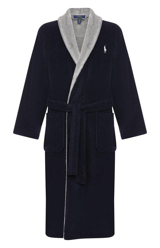 Купить Хлопковый халат с поясом Ralph Lauren, 714705217, Турция, Темно-синий, Хлопок: 100%;