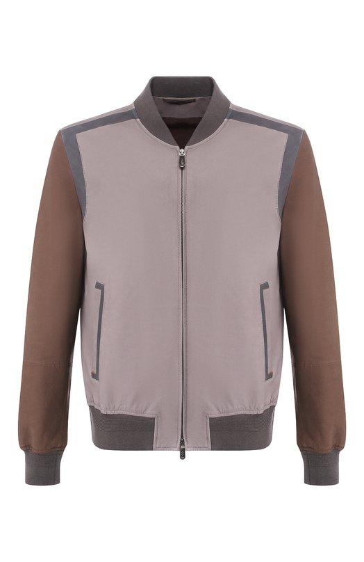 Купить Кожаный бомбер Zegna Couture, CSCBC/5S204, Италия, Серый, Подкладка-хлопок: 55%; Подкладка-вискоза: 45%; Кожа: 100%;