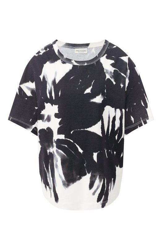 Купить Хлопковая футболка Dries Van Noten, 191-31117-7616, Турция, Черный, Хлопок: 100%;