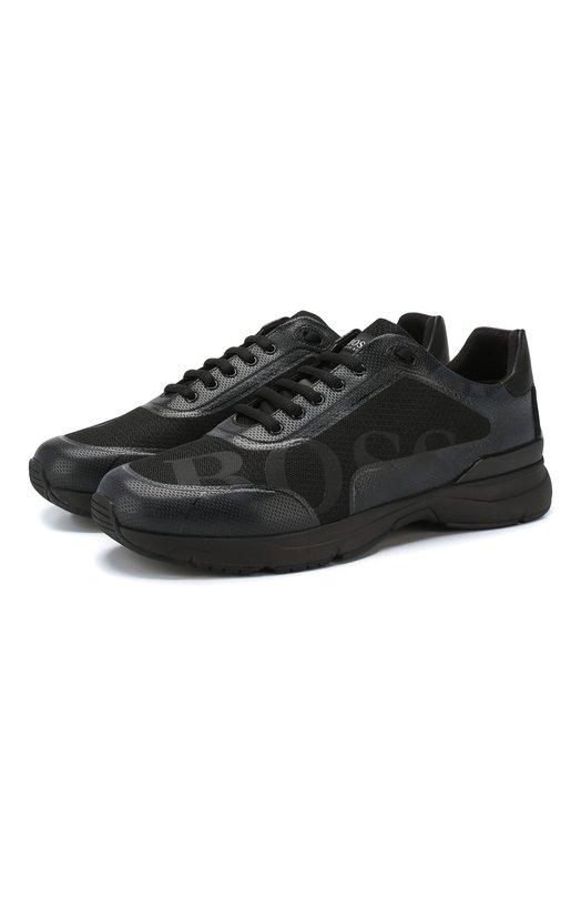 Купить Комбинированные кроссовки BOSS, 50397613, Китай, Черный, Полиэстер: 100%; Кожа: 100%;