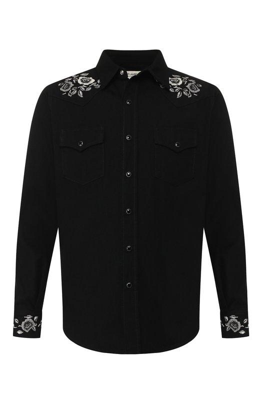 Купить Хлопковая рубашка Saint Laurent, 551388/YM881, Италия, Черный, Хлопок: 100%;
