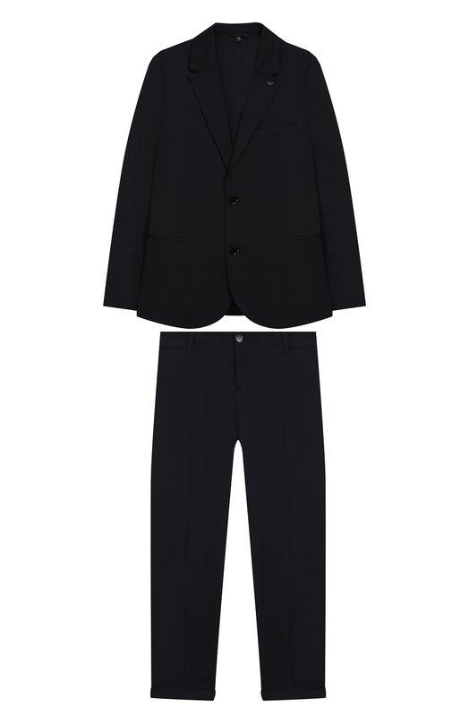 Костюм из хлопкового пиджака и брюк Emporio Armani