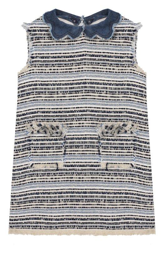 Купить Буклированное мини-платье Il Gufo, P19VA239C5040/2A-4A, Италия, Разноцветный, Акрил: 9%; Эластан: 5%; Полиэстер: 44%; Хлопок: 42%;