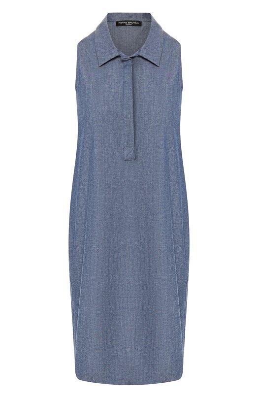 Купить Хлопковое платье Pietro Brunelli, AG0162/C00053, Италия, Голубой, Хлопок: 98%; Эластан: 2%;
