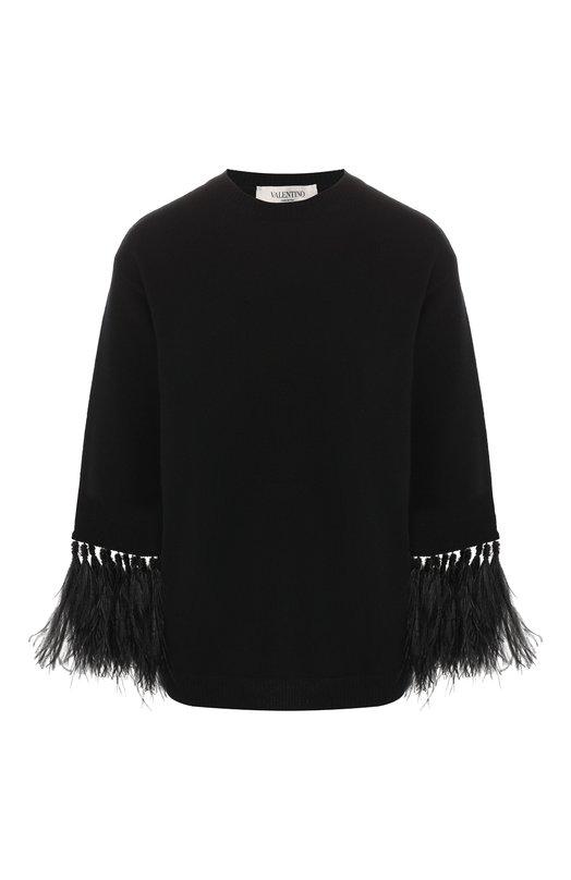 Купить Кашемировый пуловер Valentino, RB0KCA354M8, Италия, Черный, Кашемир: 100%; Отделка-перо страуса: 100%;