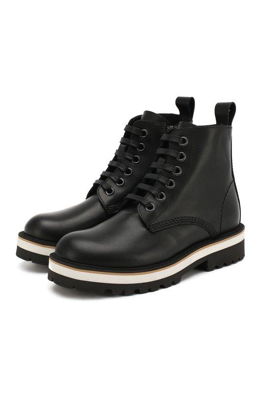 Купить Кожаные ботинки Dsquared2, 54261/28-35, Италия, Черный, Кожа: 100%; Подкладка-кожа: 100%; Подошва-резина: 100%; Стелька-кожа: 100%;