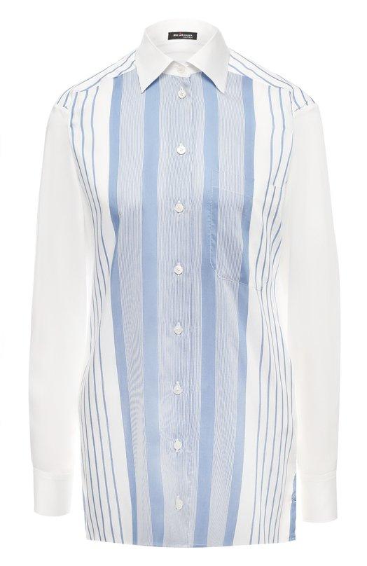 Купить Рубашка из смеси вискозы и шелка Kiton, D47416K09R34, Италия, Синий, Вискоза: 84%; Шелк: 16%;