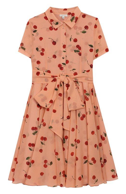 Купить Платье с поясом Alexander Terekhov, KIDSD086/1008.CH102/S19, Россия, Розовый, Шелк: 95%; Эластан: 5%;