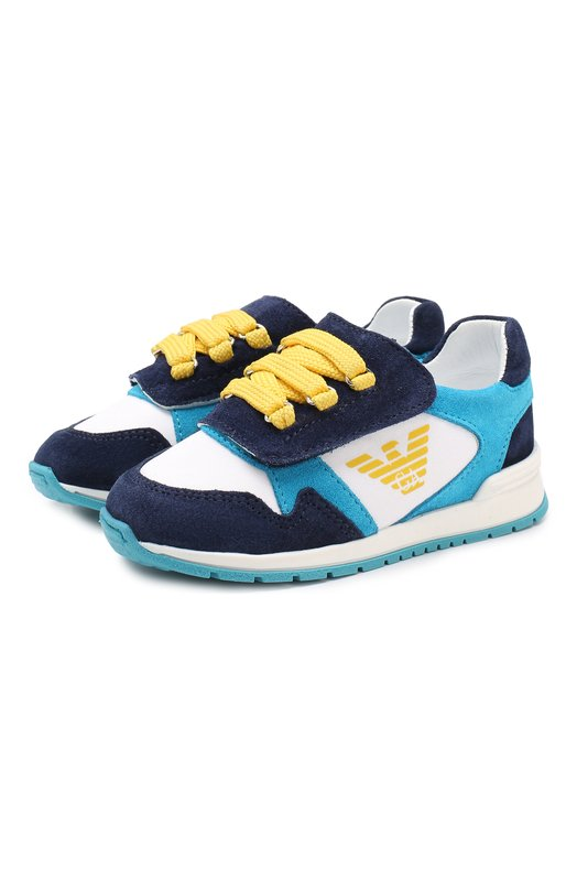 Замшевые кроссовки с застежками велькро Emporio Armani