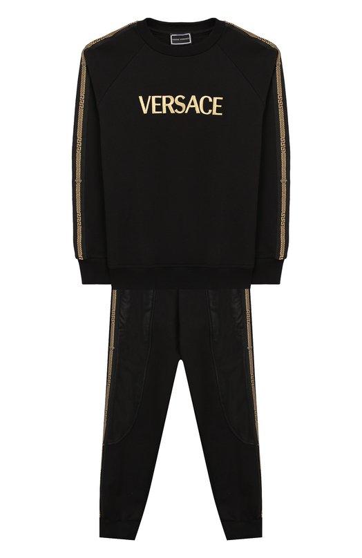 Комплект из хлопкового кардигана и брюк Young Versace