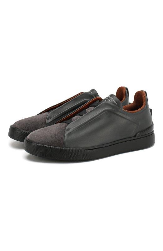 Купить Кожаные кеды Triple Stitch Zegna Couture, A2511X-MS0, Италия, Темно-серый, Подкладка-текстиль: 70%; Подкладка-кожа: 30%; Кожа: 100%; Подошва-резина: 100%; Стелька-кожа: 100%;