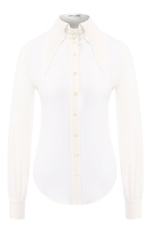 Купить Шелковая рубашка Saint Laurent, 568623/Y059R, Италия, Белый, Шелк: 100%;