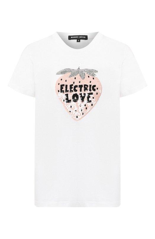 Купить Хлопковая футболка Markus Lupfer, TEE218, Индия, Белый, Хлопок: 100%;