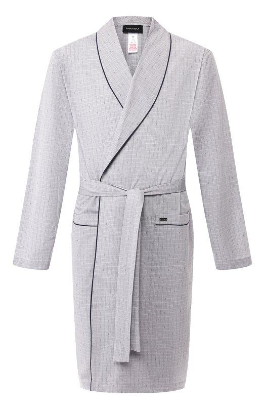 Купить Хлопковый халат Hanro, 075640, Турция, Серый, Хлопок: 100%;