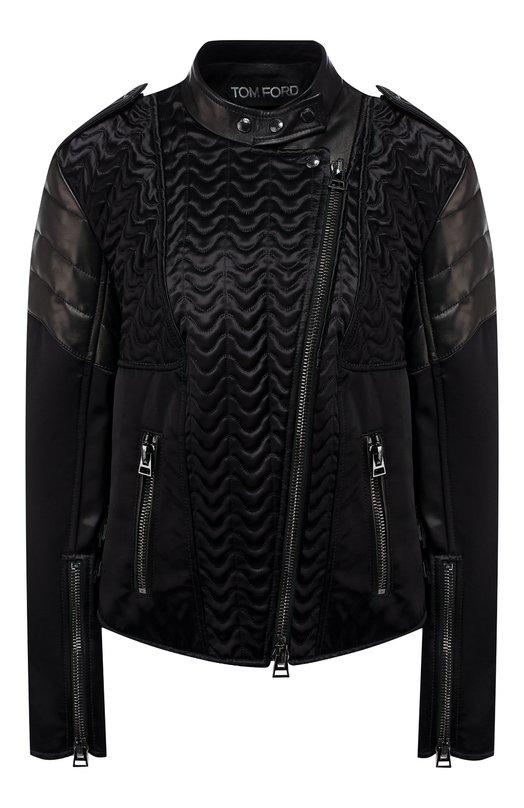 Купить Куртка с косой молнией Tom Ford, GIL385-LEX083, Италия, Черный, Подкладка-шелк: 90%; Вискоза: 100%; Отделка-кожа: 100%; Подкладка-эластан (полиуретан): 10%;