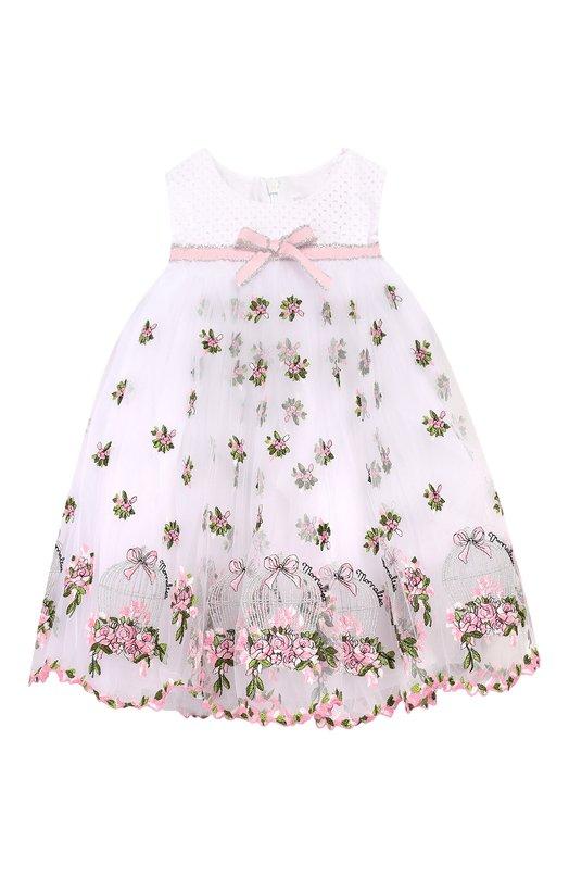 Купить Хлопковое платье Monnalisa, 313934, Италия, Разноцветный, Хлопок: 100%; Отделка-полиэстер: 65%; Отделка-хлопок: 20%; Отделка-вискоза: 15%;