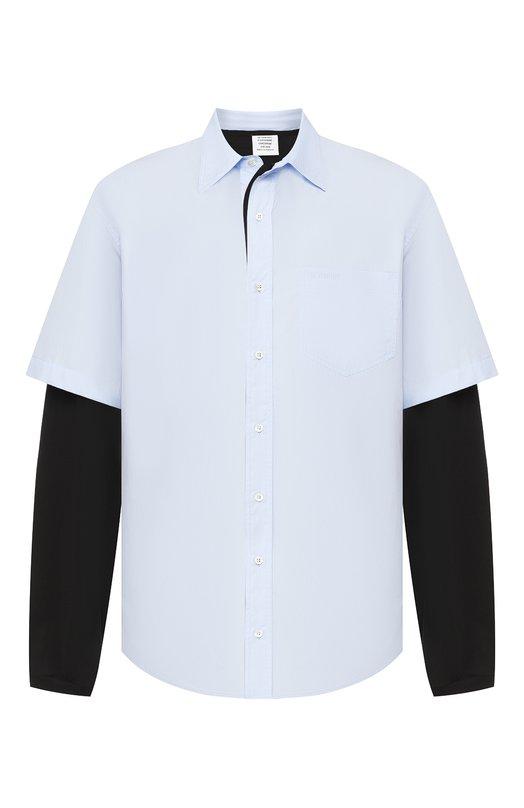 Купить Хлопковая рубашка Vetements, MSS196059, Италия, Голубой, Подкладка-хлопок: 94%; Подкладка-эластан (полиуретан): 6%; Хлопок: 100%;