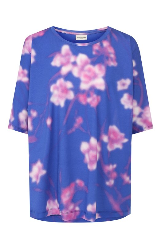 Купить Хлопковая футболка Dries Van Noten, 191-11193-7624, Турция, Синий, Хлопок: 100%;