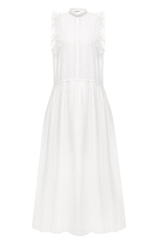 Купить Хлопковое платье Zadig&Voltaire, SHCA0402F, Индия, Белый, Хлопок: 73%; Лиоцелл: 27%; Подкладка-хлопок: 100%;