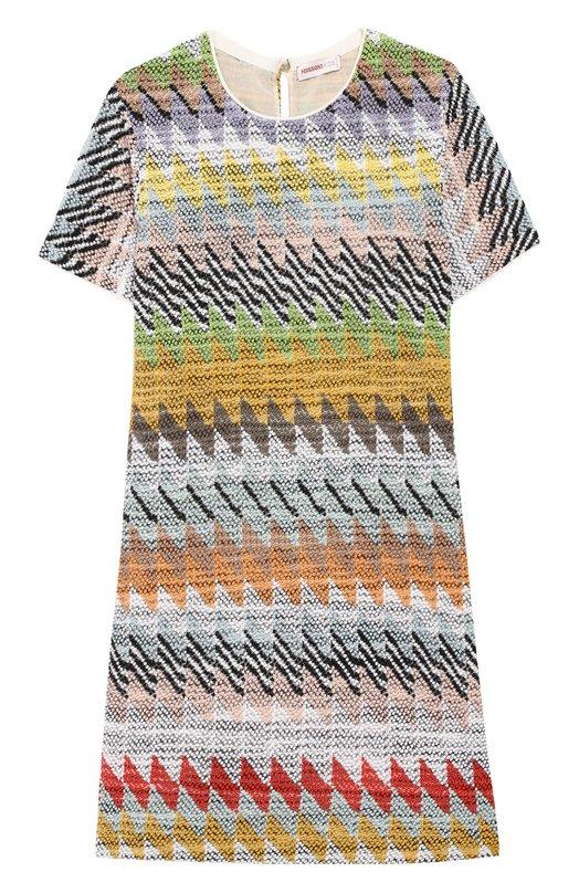 Купить Платье из вискозы и хлопка Missoni, MBG00037/BR0019/8-12, Италия, Разноцветный, Подкладка-шелк: 97%; Вискоза: 72%; Эластан (Полиуретан): 3%; Хлопок: 28%;