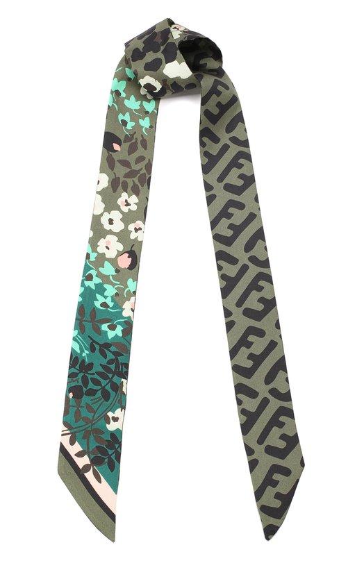 Купить Шелковый шарф-бандо Fendi, FXT011 A7YD, Италия, Темно-зеленый, Шелк: 100%;